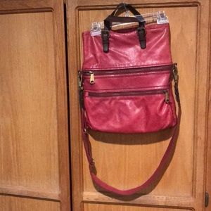 Pink leather fossil bag